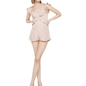 BCBGeneration Womens Lace Ruffled Romper Pink 12